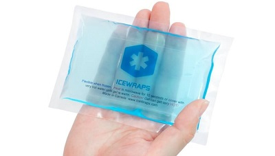 reuasable ice pack held in a palm